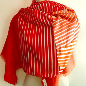 Cotton Voile Tangerine & White Calvin Klein Scarf